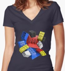 Picasso Toy Bricks Women's Fitted V-Neck T-Shirt
