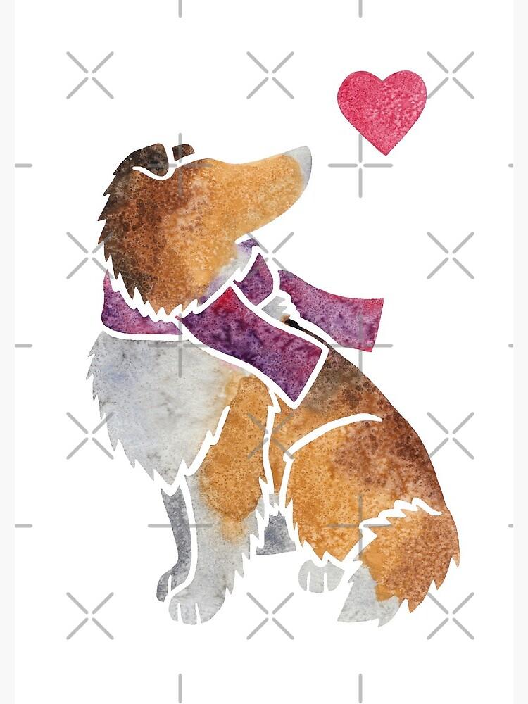 Watercolour Rough Collie by animalartbyjess
