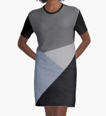 gray black asymmetrical abstract Graphic T-Shirt Dress