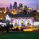 Kansas City Skyline with Union Station in Color by Gregory Ballos