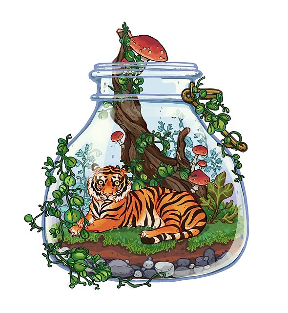 Tiger Plant Terrarium by SingDoodle