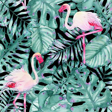 Tropical Leaves & Flamingos by crazycanonmom