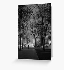 City at Nght Monochrome Black and White Greeting Card