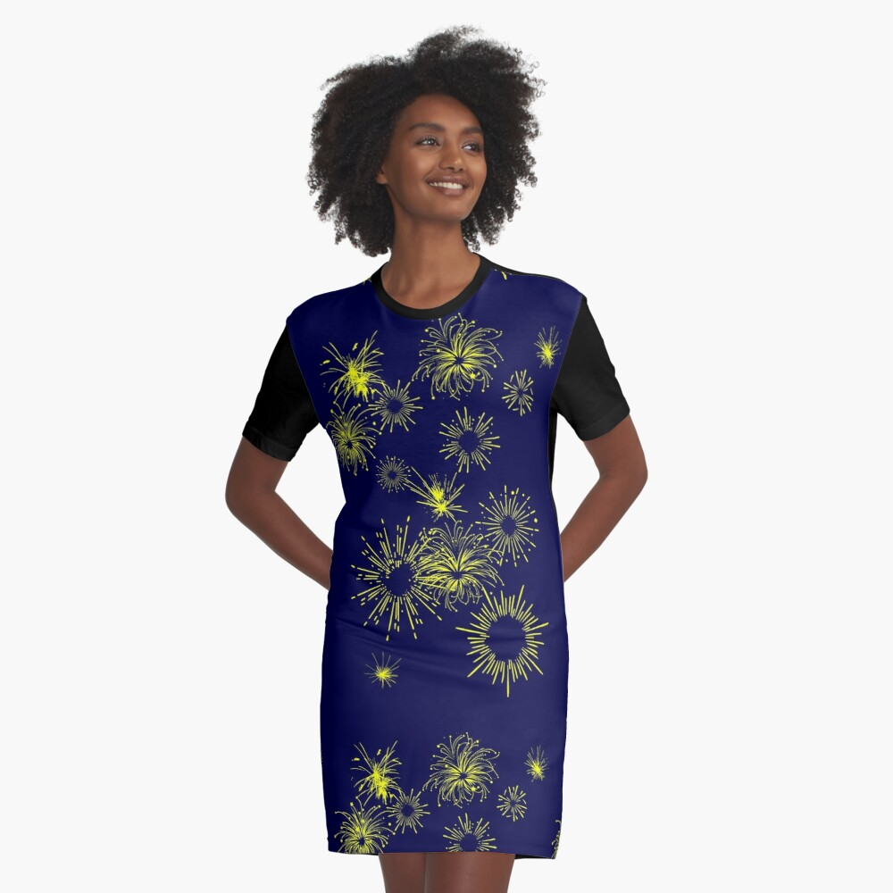 Fireworks Graphic T-Shirt Dress Front