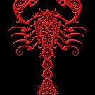 Roter und schwarzer Tribal Scorpion von jeff bartels