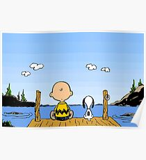 Charlie Brown Snoopy On Dock Poster