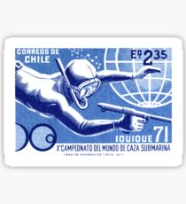 1971 Chile Spearfishing Championship Postage Stamp Sticker