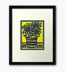 Fogo Flowers Yellow Blue Framed Print