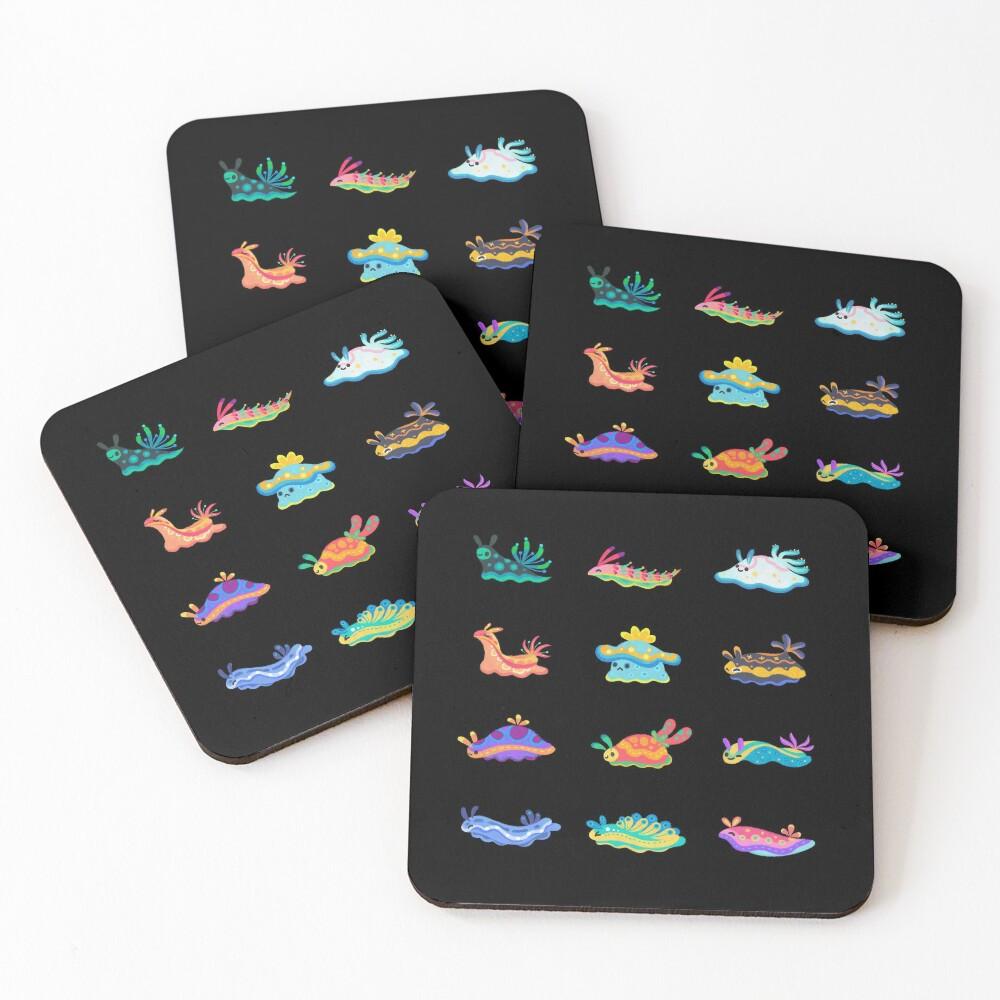 Sea slug - black Coasters (Set of 4)
