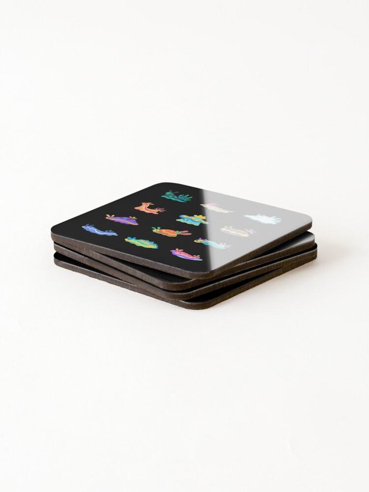 Alternate view of Sea slug - black Coasters (Set of 4)