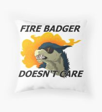 Fire Badger Doesn't Care Throw Pillow