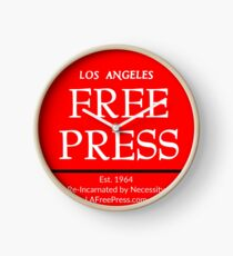 Los Angeles Free Press Clock With Red Logo Clock