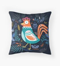 Blue Floral Roster Throw Pillow