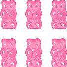 Rosa Gummibärchen auf tadellosem Hintergrund-Muster von XOOXOO