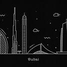 Dubai Skyline Minimal Line Art Poster by A Deniz Akerman