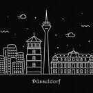 Dusseldorf Skyline Minimal Line Art Poster by A Deniz Akerman
