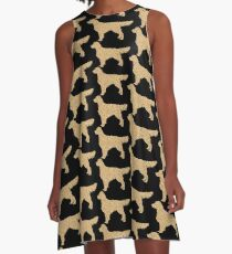Golden Retriever Silhouette | Golden Glitter Dogs A-Line Dress