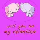 Will You Be My Valentine - Boy & Girl Baby Elephant design by Dennis Melling