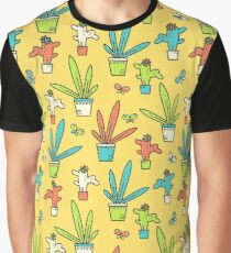 Line simple houseplants. Succulent and grass. Pattern.  Graphic T-Shirt