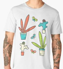 Line simple houseplants. Succulent and grass. Pattern.  Men's Premium T-Shirt