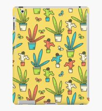 Line simple houseplants. Succulent and grass. Pattern.  iPad Case/Skin