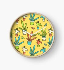 Line simple houseplants. Succulent and grass. Pattern.  Clock