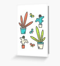 Line simple houseplants. Succulent and grass. Pattern.  Greeting Card