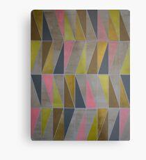 Pink Grey Yellow Metallic Geometric  Metal Print
