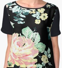 cottage chic french country pink peony black floral  Chiffon Top