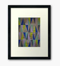 Neon Yellow Blue Mint Grey Pink Geometric Framed Print
