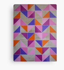 Pink Purple Orange Chevron Geometric Metal Print