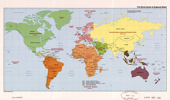 World Political Regional Map 1985 Posters By Allhistory Redbubble