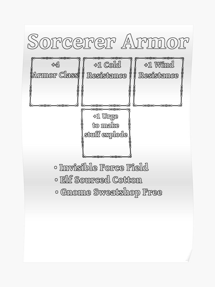 Sorcerer Armor: Role Playing DND 5e Pathfinder RPG Tabletop RNG | Poster