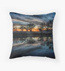 Pond and Sunset Throw Pillow