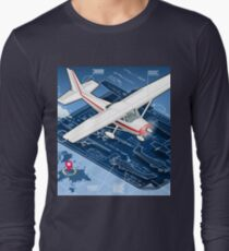 Isometric Infographic Airplane Blue Print T-Shirt