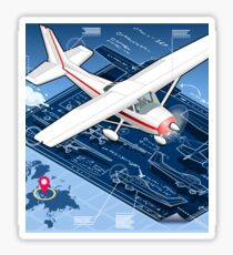 Isometric Infographic Airplane Blue Print Sticker