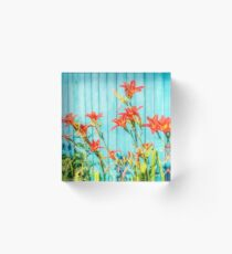 Tiger Lilly and Rustic Blue Wood Acrylic Block