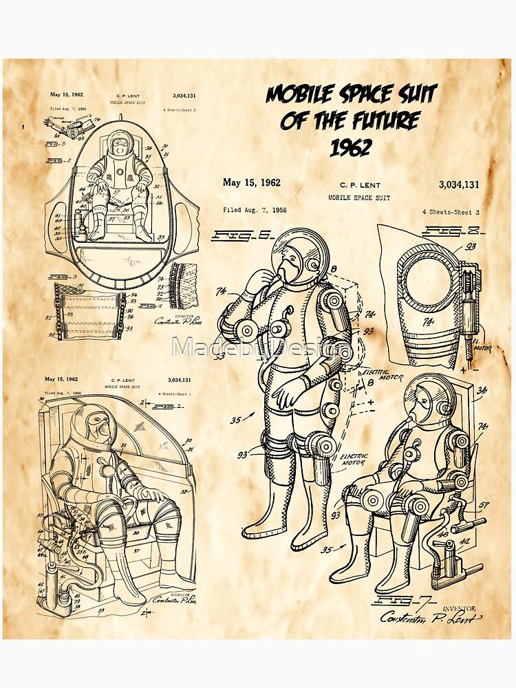 Vintage patent blueprint art space suit 1962 unisex t shirt by vintage patent blueprint art space suit 1962 by madebydesign malvernweather Choice Image