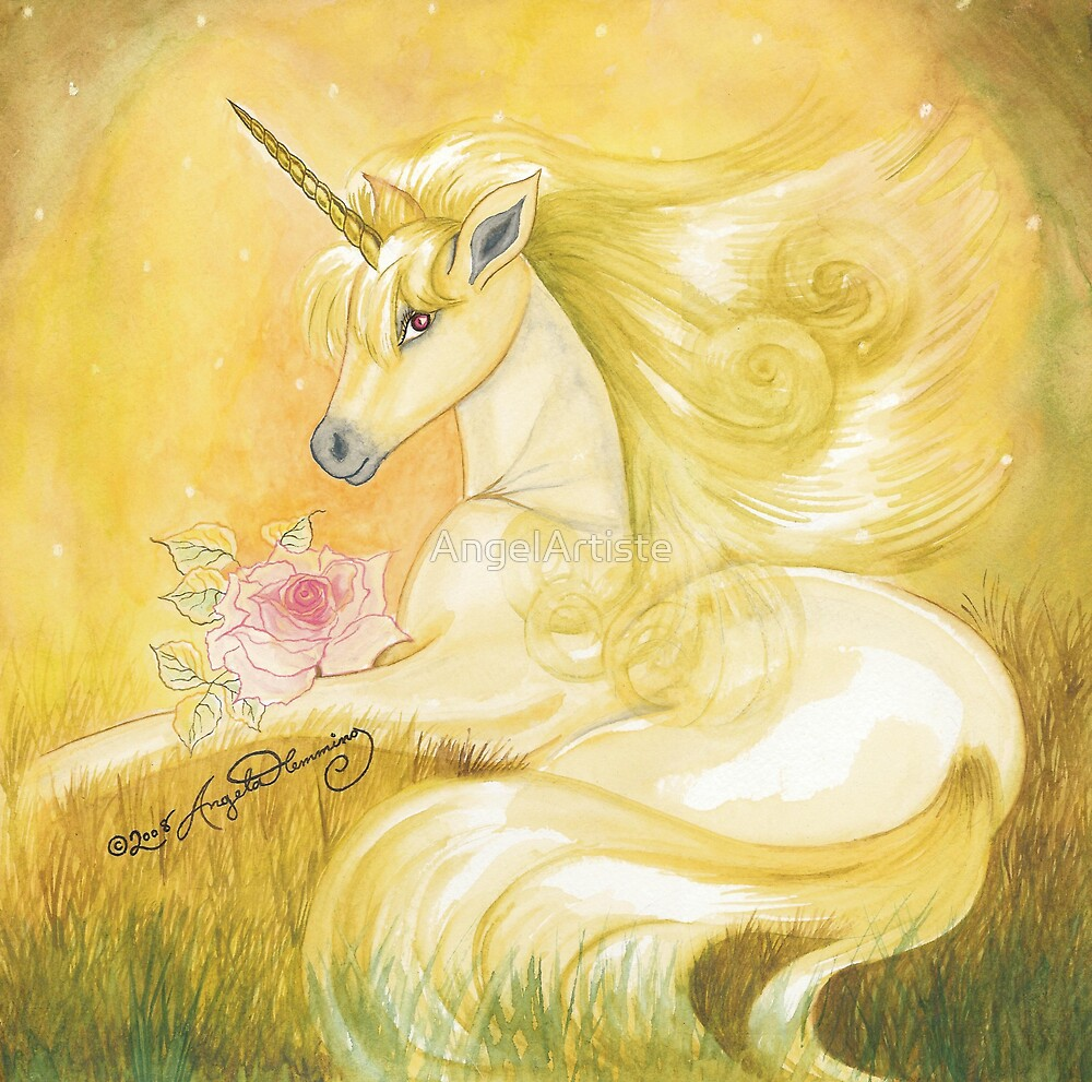 Unicorn In Golden Dusk by AngelArtiste