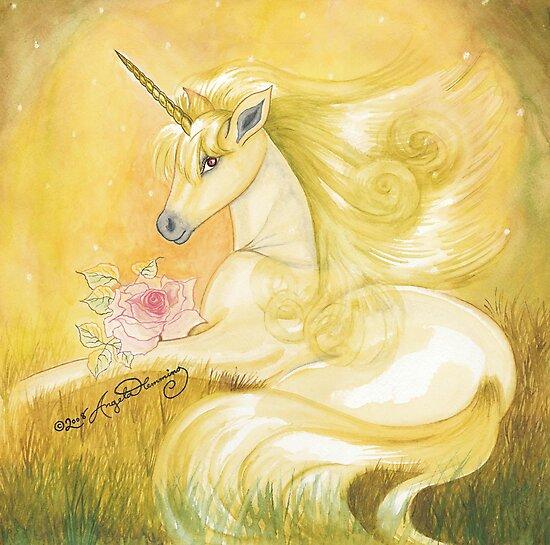 Unicorn In Golden Dusk by AngelArtiste