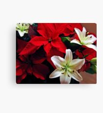 Lilies and Poinsettia Canvas Print