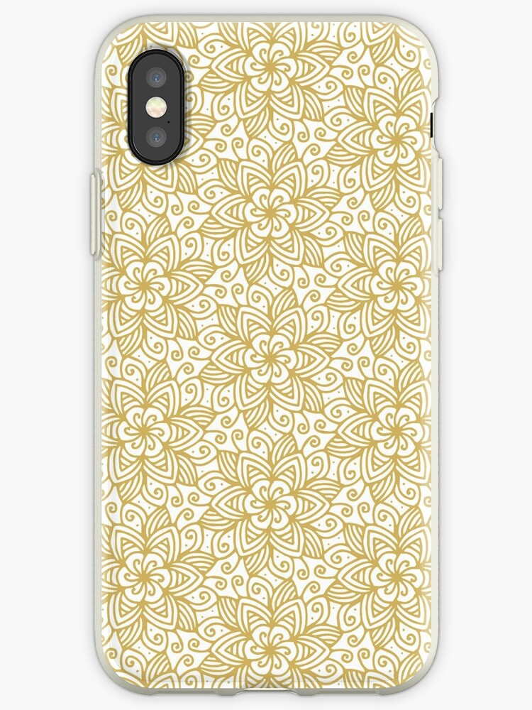 T-Shirt or Phone Cover Abstract Flower Pattern Ornate Flourish luxury damask swirly leaf antique retro art old baroque renaissance rococo by IATV