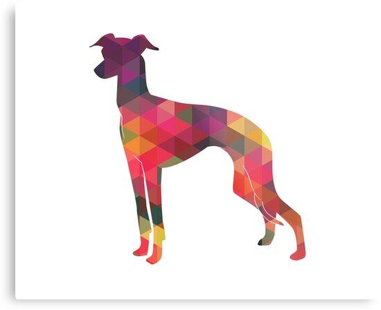 Italian Greyhound - Iggy - Geometric Pattern Silhouette Multi by TriPodDogDesign