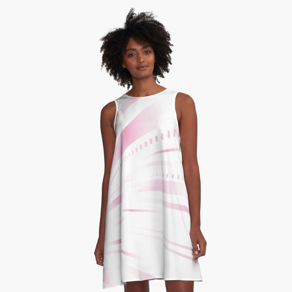 Pink Lines Abstract Art A-Line Dress Front