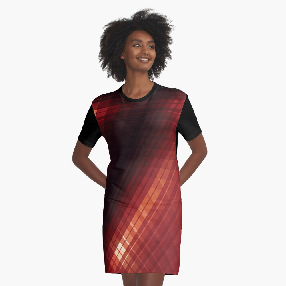 Red Lines Abstract Art Graphic T-Shirt Dress Front