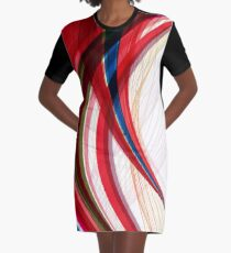 Red Blue Half Circles Abstract Art Graphic T-Shirt Dress