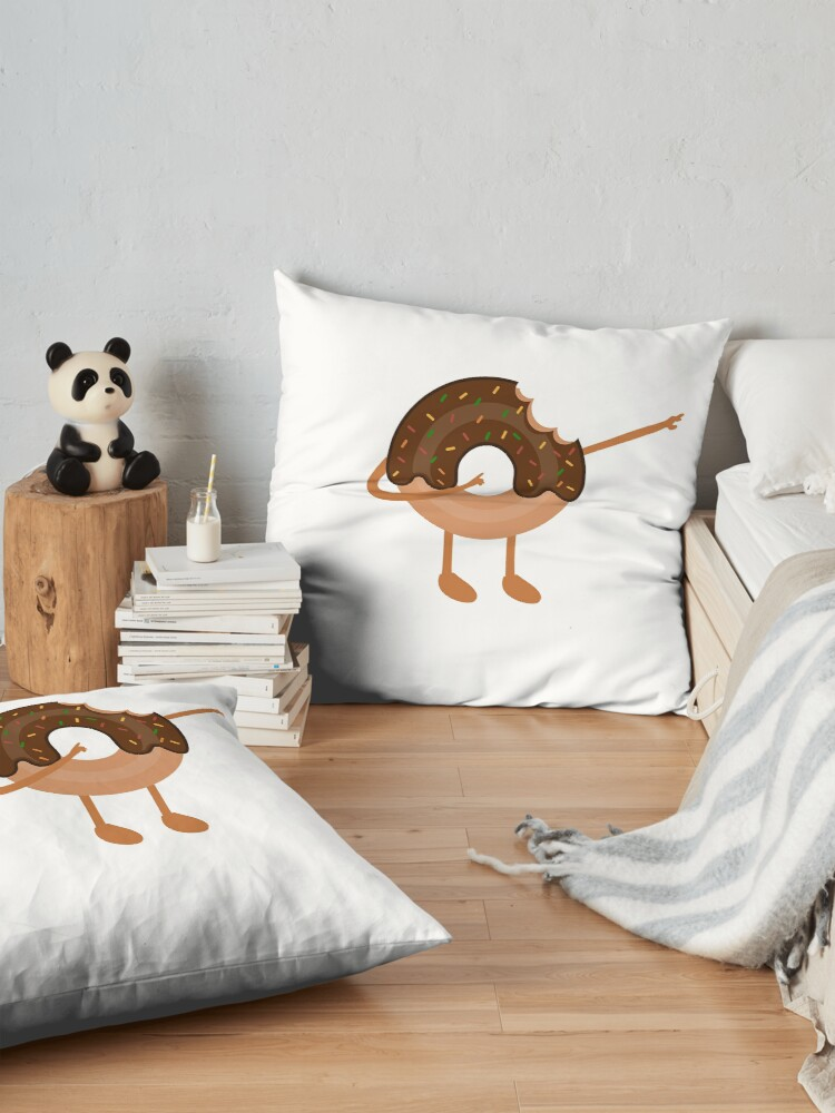 Alternate view of Dabnut the Dabbing Donut Vintage Themed, Funny Merch Floor Pillow
