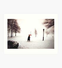 Lady walking through Central Park in snowstorm Art Print