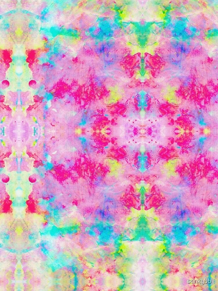 Trippy Pixel Water Colour Tie Dye Pattern Graphic T Shirt Dress By