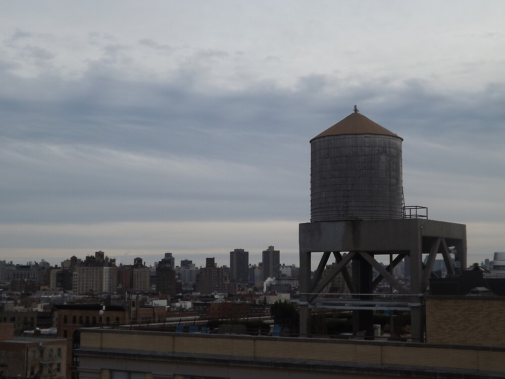 Aerial View, Water Tank, West Village, New York City by lenspiro